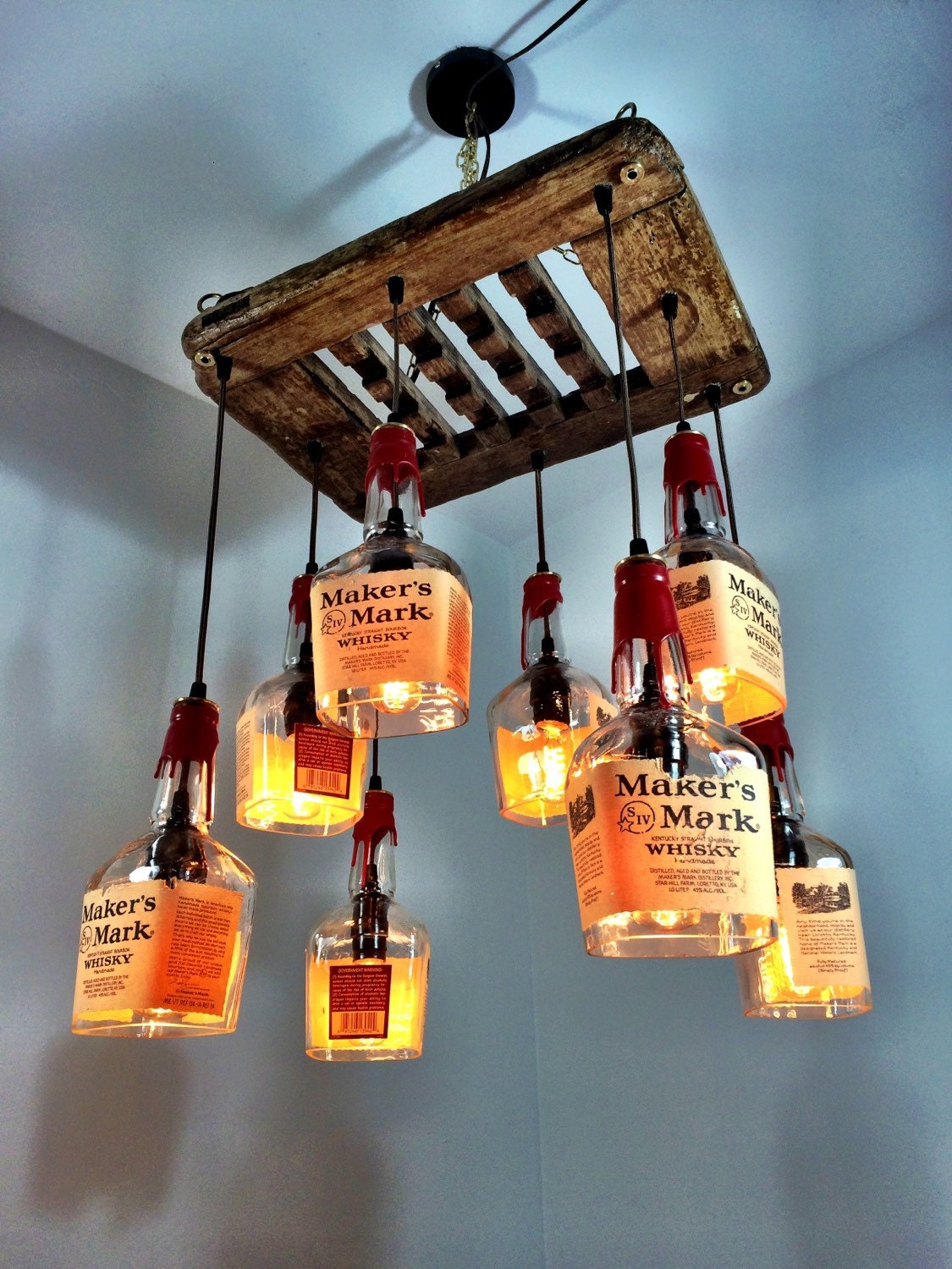 Makers Mark Whiskey Amp Driftwood 8 Bottle Chandelier By
