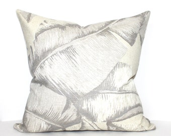 Beige Pillow Cover Tropical Leaf Upholstery Fabric Decorative Pillow Throw Pillow Cover Euro Sham 26x26 24x24 22x22 20x20 18x18 16x16