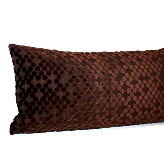 Lumbar Pillow Brown Pillow Cut Velvet Circles by couchdwellers