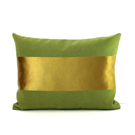 Gold Stripe Decorative Pillow : Lumbar Pillow Cover Decorative Metallic Gold Stripe Olive