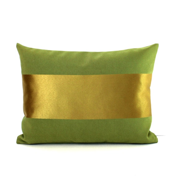 Lumbar Pillow Cover Decorative Metallic Gold Stripe Olive