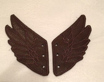 Brown Faux leather wings stitched with your choice of thread color Percy Jackson Inspired Shoe Wings