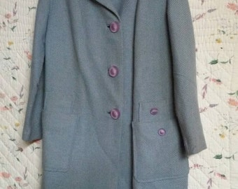 Vintage wool coat light blue