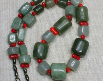 Vintage Jade Necklace: Jadeite with Red Glass. Early Laurel Burch? Chinese Style, Antique Beads
