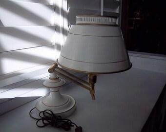 White Toleware Table Desk Piano Lamp