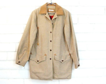 70's CANVAS WORK COAT vintage western duster jacket car coat ultrasuede hand tailored plaid lined M