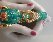 KJL Elephant Bracelet Enameled Green Gorgeous Clamper one size fits all Magnet Clasp Coral Rhinestones Cabochon eyes Upturned Trunk Lucky