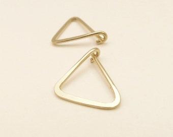 Gold Triangle Hoop Earrings