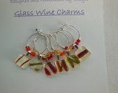 Orange Glass Charms - Yellow Glass Charms - Metallic Wine Charms - Red Glass Wine Charms Made by Pillowscape Designs - Red Orange Yellow
