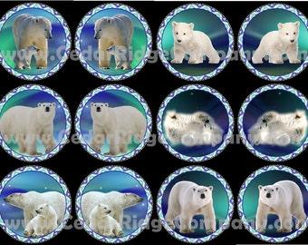 "1"" Epoxy Stickers Native Polar Bear Cab Set Bottle Cap Beading"