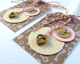 Paper Gift Tags - Key to My Heart - Set of 2 Handmade Brown and Pink Paper Gift Tags- for Anniversary, Wedding, Love, Valentine's Day