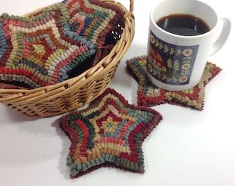 Rug Hooking PATTERN, Star Mug Rugs, J857, Folk Art Stars Coasters, DIY Primitive Rug Hooking