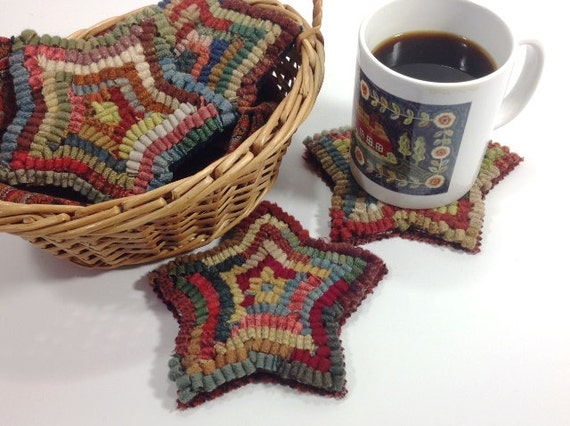 Rug Hooking PATTERN, Star Mug Rugs, J857, Folk Art Stars Coasters, DIY Primitive Rug Hooking