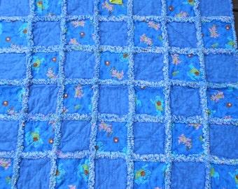 Sesame Street Shirtails Playing Baseball New Handmade Flowers Raggedy Rag Flannel Baby Toddler Quilt Blanket