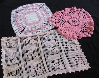 Lot of 3 Handmade Vintage Crocheted Pink Doilies