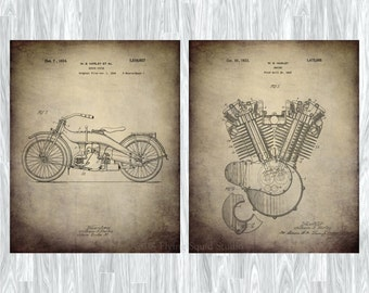 Harley Motorcycle Patent Poster Prints - Set of Two: Harley Art, Motorcycle Art, Patent Prints, Harley Home Decor, Harley Wall Art