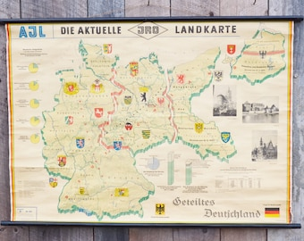 Geteiltes Deutichland Map Divided Germany Roll Up Classroom School Chart Printed in German 1960's