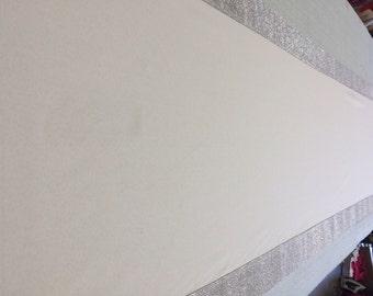 Custom Made Ivory Gabardine Aisle Runner 25  ft with Silver Rhinestone Sparkle border  36 inches wide