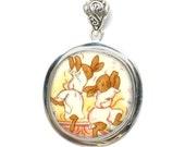 Broken China Jewelry Bunnykins Bunny Rabbit Bath Time Bubbles Sterling Silver Pendant