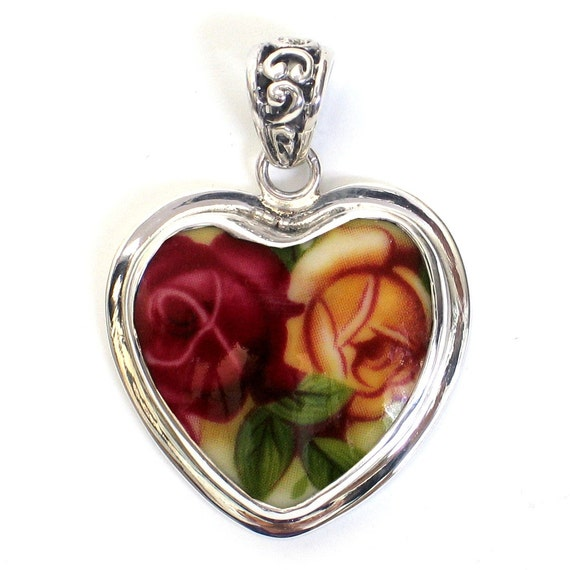 Broken China Jewelry Old Country Roses Red Yellow Double Rose Close Up Sterling Heart Pendant