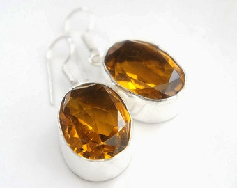 SALE Yellow Faceted Glass Oval Shaped Dangle Earrings