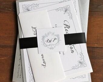 "Elegant Silver Wedding Invitations, White, Black and Silver Monogram Luxury Wedding Invitation - ""Classic Love Black and Silver"" Deposit"