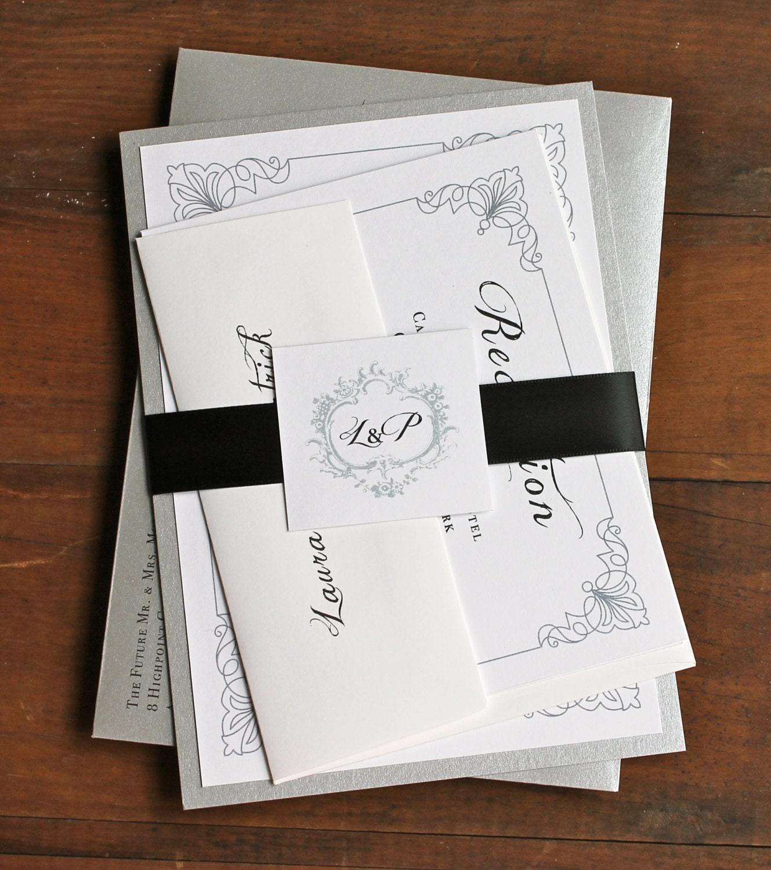 Silver And White Wedding Invitations: Elegant Silver Wedding Invitations White Black And Silver