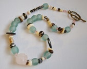 RECYCLED GLASS BEADED African Ethnic Necklace Pink Quartz Stone Aqua Glass Brown Cream Wood Beads