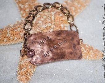 Just Breathe copper stamped bracelet