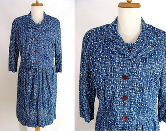 TEMPORARILY REDUCED was 44.44 vintage 60s Blue Print Silky Nylon 2pc Shelton Stroller Shirtwaist Day Dress L 12 14