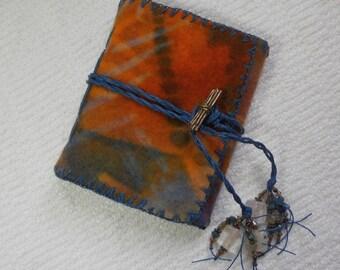 E604 Abundance and Joy! Journal - Resist Dyed, Handmade Felt