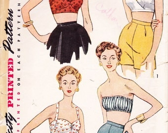 Vintage 50's Simplicity Pattern Misses set of Bra Tops 4333 - Bust 36