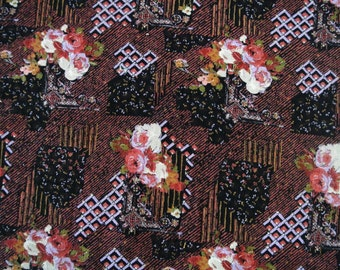 Vintage 1980s fabric in highquality unused flannel cotton with large printed multicolor rose pattern on brown/ black bottomcolor