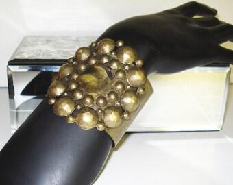 Vintage Cuff Bracelet - Huge - Bold - Gold Color - Ornate - 1960s