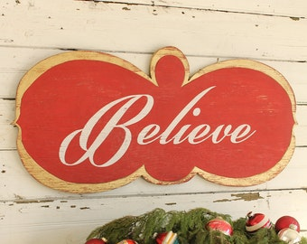 Believe Christmas Sign  Decor Red Gold Mantel Sign