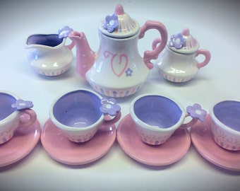 Grape Cotton Candy  personalized childs tea set with ceramic tray