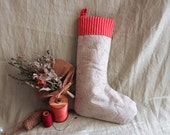 Reserved for Kim - Quilted Linen Christmas Stocking- Red and White Striped Cuff, Pale Green