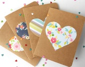 Floral and Stripes Heart Kraft Note Card