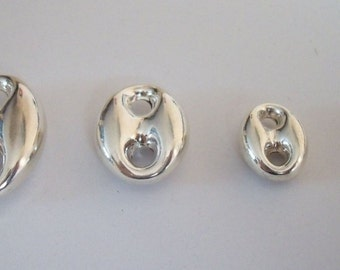 2 Sterling Silver 925 3D puff Mariner Anchor Chain Link Beads for Designers Bright 925 Silver