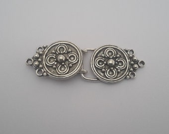 1 Solid Sterling Silver 925 Bali Flower Hook and Eye Clasp set (3 strand) beads