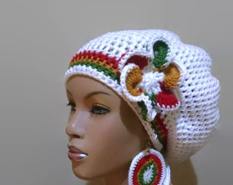 MADE TO ORDER White Slouch hat/deadlock hat with Rasta Stripes and drawstring/ free matching crochet earrings and flower clip