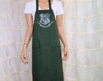 Harry Potter Hogwarts Crest Printed Slytherin Chef Apron MTCoffinz