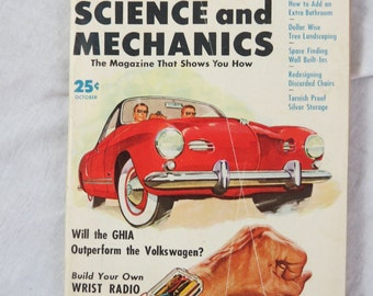 Science and Mechanics Magazine October 1956 Volkswagen Ghia Box A