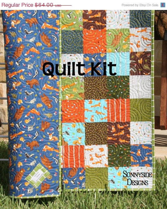 Forest Friends Quilt Kit Moda Fabrics Blue By Sunnysidefabrics