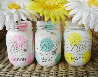 Hand Painted Mason Jars Wedding Decor/ Baby Shower Decor / Summer Decor Set of 3 LOT Polka Dot Blue / Green / Pink Shabby Chic
