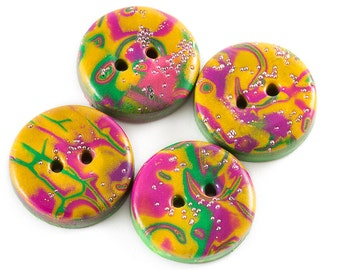 """Four """"Mardi Gras"""" carnival polymer clay buttons"""