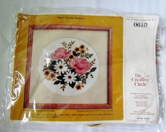 "New Price Beautiful RETRO VINTAGE EMBROIDERY kit Fowers 13 "" X 13 ""  by Creative Circle in1981"