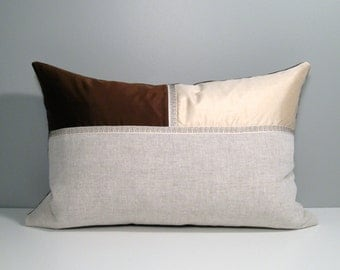 SALE - Modern Silk Pillow Cover, Chocolate Brown & Ivory Cream, Decorative Throw Pillow Case, Cream Linen, Masculine Cushion Cover