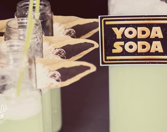 """Star Wars """"Yoda Soda"""" Bottle Ears - INSTANT DOWNLOAD Printable Party Decorations"""