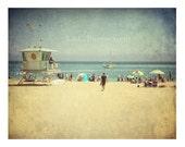 Vintage Beach photo. Santa Cruz California. Summer scene. beach house decor. retro photography. blue. sand. people. ocean. beach boardwalk.